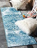 "Unique Loom Sofia Collection Blue 2 x 7 Runner Area Rug (2' x 6' 7"")"