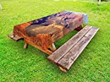 Lunarable Canyon Outdoor Tablecloth, Epic South West Canyon Before Sunrise Tribal Ethnic National Landmark Wilderness Print, Decorative Washable Picnic Table Cloth, 58 X 120 inches, Brown