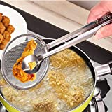 Jujunx Multi-functional Filter Spoon With Clip Food Kitchen Oil-Frying Salad BBQ Filter (Sliver)