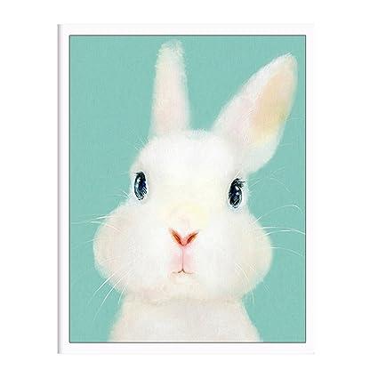 Amazon.com: Unframed Cute Animals Bunny Canvas Wall Art Print Oil ...