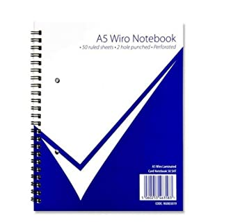 A4 A5 Wiro Notebook Ruled 100 pages Punched Holes Writing Notes School Books