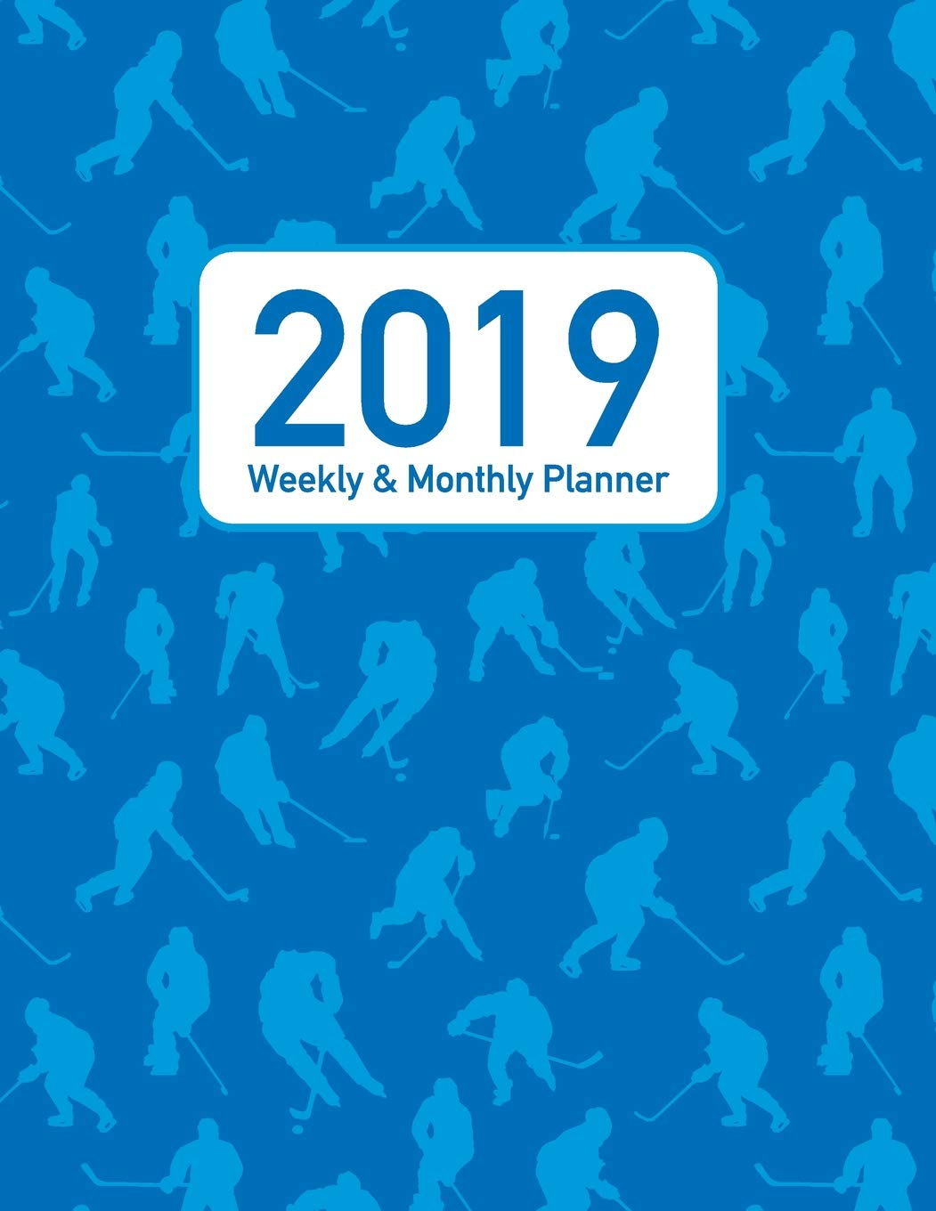 Uf Calendar 2020.2019 Weekly Monthly Planner Blue Hockey Players Pattern Cover