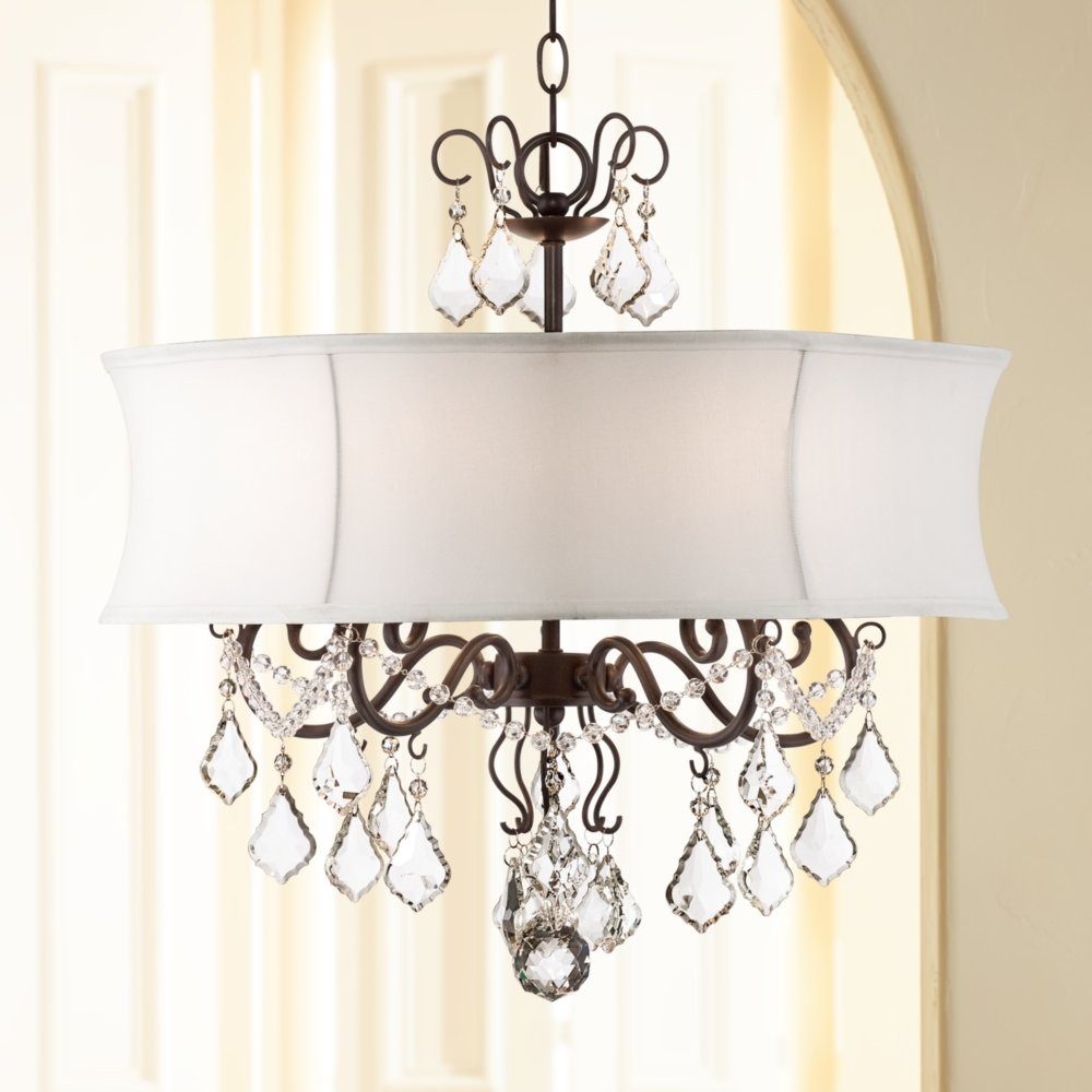 Zula white shade 22 wide crystal chandelier amazon aloadofball Image collections