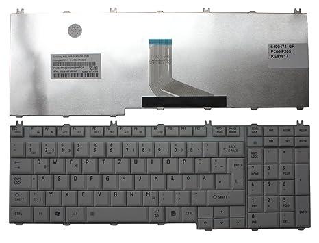 Toshiba Satellite P205-S8811 gris alemán de repuesto teclado para ordenador portátil