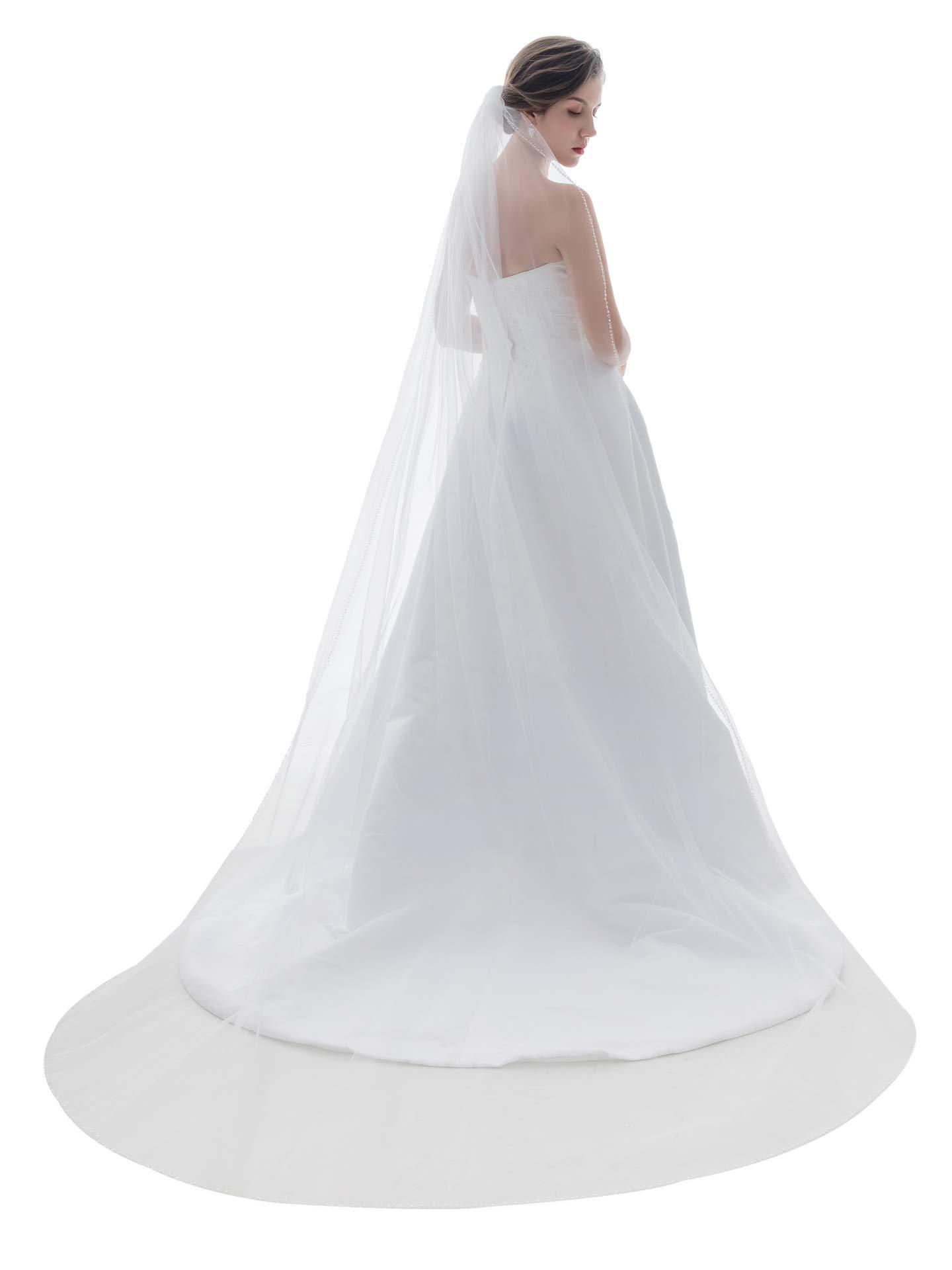 1T 1 Tier Beaded Edge Wedding Veil - Ivory Cathedral Length 108'' V120 by SAMKY