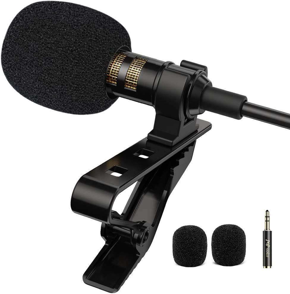 PoP voice Professional Lavalier Lapel Microphone Omnidirectional Condenser Mic for iPhone Android Smartphone,Recording Mic for Youtube,Interview,Video: Musical Instruments
