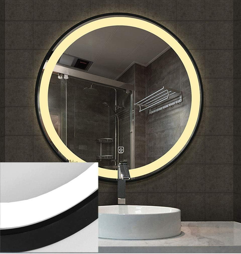 Djz Runder Spiegel Eingangsdekorativer Spiegel /Ø50cm 70cm Badezimmer HD Spiegel mit LED Beleuchtung Schwarzer Metallrand 60cm