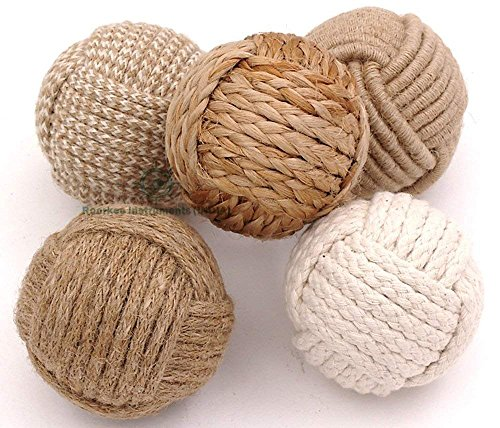 Roorkee Instruments India Nautical Decorative Rope Ball/Set of 5 Rope Knot/Nautical Bowl Filler/Rope Decor