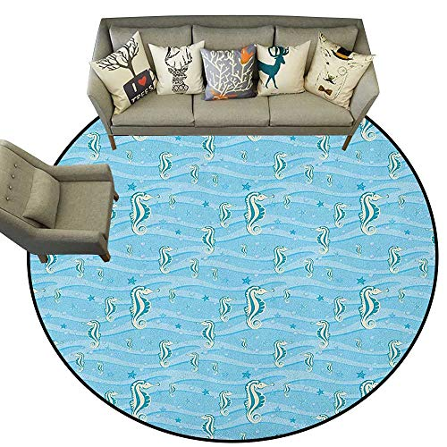 Animal,Rugs for Sale Cartoon Like Seahorses for Kids Nursery Baby Girls Boys Childish Playroom Nautilus D48 Print Mats Round Area Rugs Carpet]()
