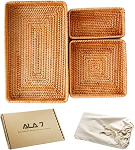 ALA7 Handmade Rectangle Rattan Serving Tray for Bread Fruit, Decorative Organizing Nesting Tray Tabletop Display Storage Basket Home Decor for Bathroom Kitchen (Set of 3)