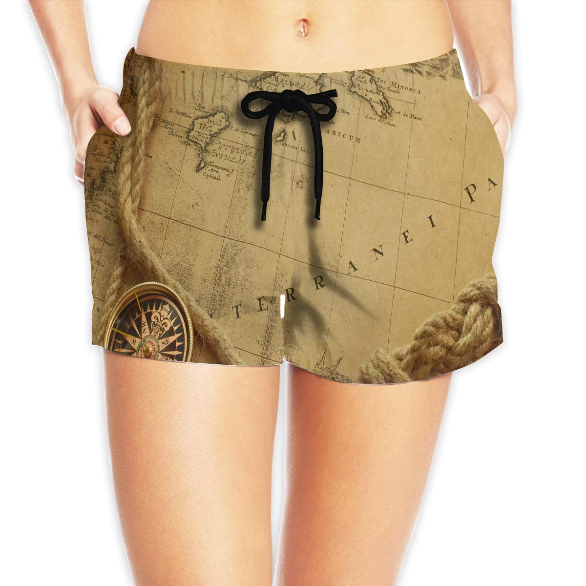 Old Map and Ship Rope Compass Womens Summer Beach Shorts Swim Boardshorts