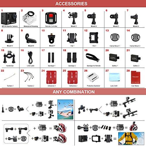 DROGRACE WP350 Sports Camera Camera Waterproof 4K 60fps Digital Accessories 12MP 170 6G