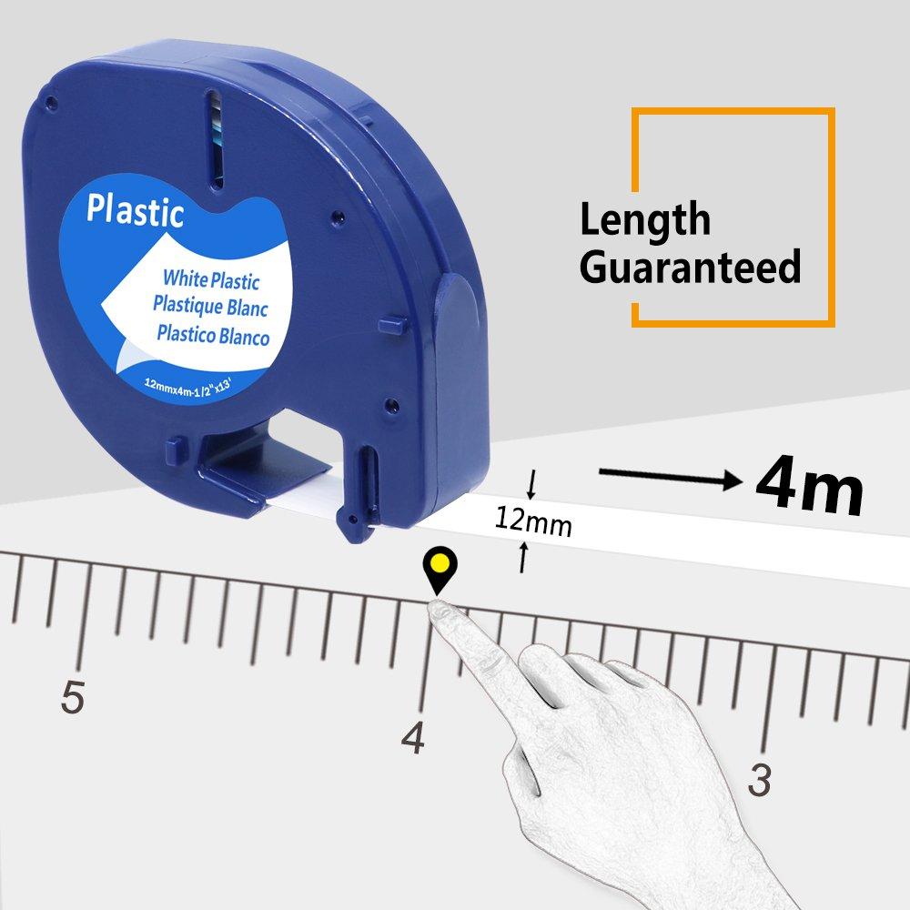 adatto a Dymo LetraTag LT-100H Nero su bianco 5x Compatibile Nastri Dymo LetraTag etichette in plastica 12mm x 4m XR Dymo S0721610, Dymo 91201 LT-100T