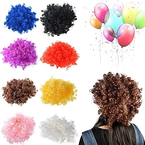 [Afro Curl Curly Clown Costume Football Party 60s 70s 80s Disco Wig Hair Colors] (70s And 80s Party Costumes)