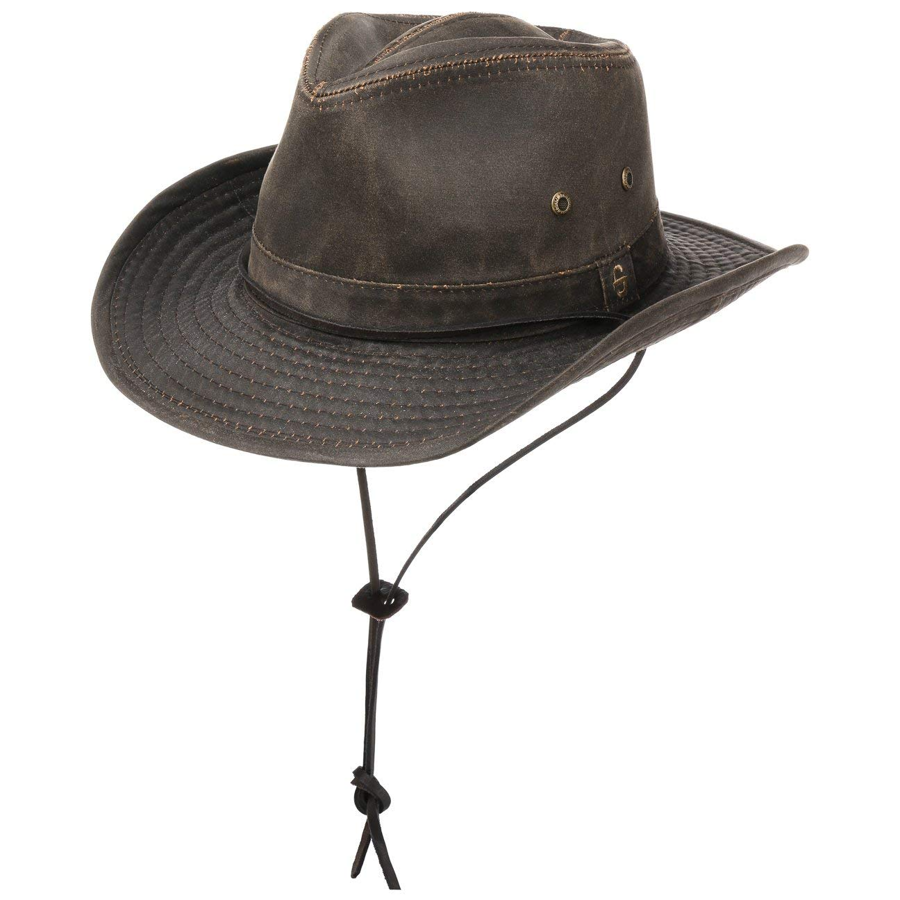 Stetson Diaz Outdoor Hat Men | Cowboy Cloth Vintage Design with Chin Strap, Piping, Fringes Summer-Winter