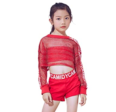 516d77a7c3d4 5 Pcs Girls Red Jazz Moderno Traje De Baile Hip Hop Mesh Crop Top Shorts  Outfits
