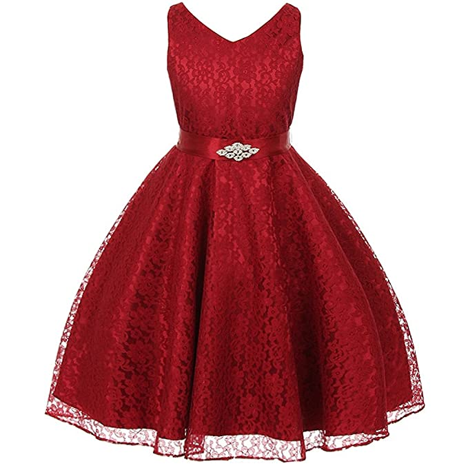 d73de374f Little Girls Fabulous Full Lace V-Neck Dress Rhinestone Brooch Burgundy -  Size 4