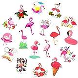 12pcs Glitter Paper Flamingo Stickers Bottle Cup Label Decal DIY Art Craft