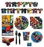 FAKKOS DC Comics Justice League Superheros Birthday Party Supplies Pack Bundle Serves 16: Large Plates, Small Plates, Cups, Napkins, Banner, Table Cover & Premium Plastic Cutlery