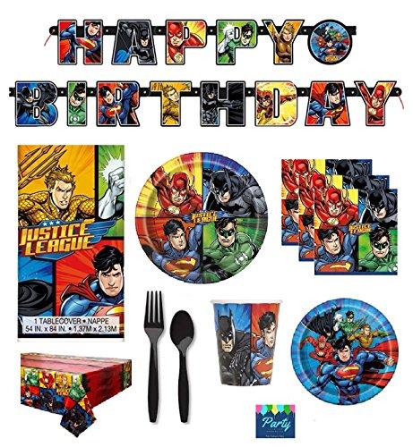 DC Comics Justice League Superheros Birthday Party Supplies Pack Bundle Serves 16: Large Plates, Small Plates, Cups, Napkins, Banner, Table Cover & Premium Plastic - Checklist Ironman