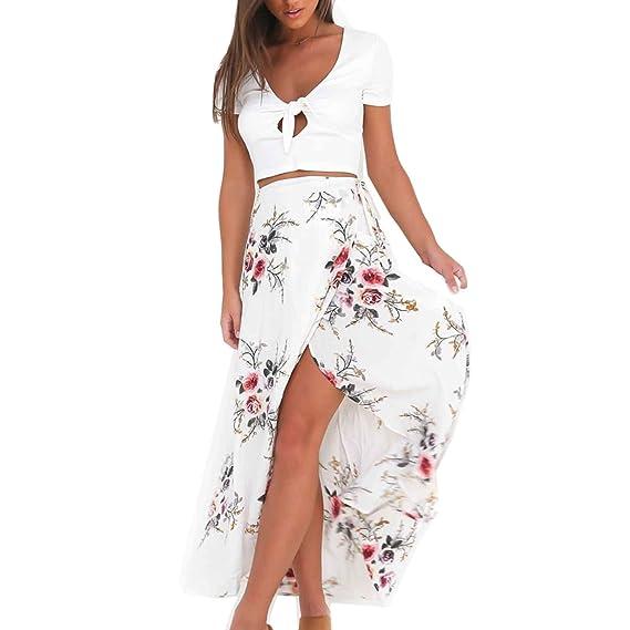Moda Falda Larga Irregular Estampada Flor Maxi Boho Verano Vestido Pareo  Playa Ropa de Playa Fiesta 8a25e25ae267