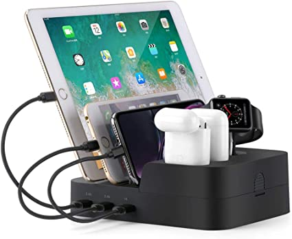 AirPods iWatch Charger Stand for iPhone//iPad//Android//Tablets-White Vogek Wireless Charging Station for Multiple Devices 5 USB Ports Charging Dock with 10W Wireless Charger and 9 Short USB Cables