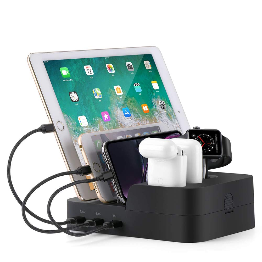 Ocim 6 Port USB Charging Station,Multiple Devices Desktop Charger Docking Organizer Compatible for Airpods Apple iWatch iPhone iPad Tablets and Smart ...