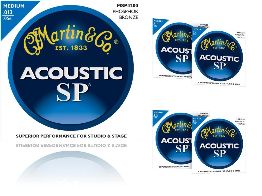 Martin MSP4200 Phosphor Bronze Medium Acoustic Guitar Strings 5 Pack (Standard) MSP4200-5PK