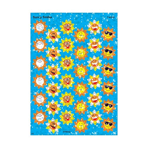 Trend Enterprises Sunny Smiles Sparkle Stickers (72 Piece), Multi (Beam Trend)