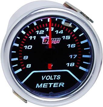 Supmico 52mm Weiß Led Licht Kfz Auto Universal Voltmeter Batteriespannung Anzeige Instrument Gauge Rauchfarbe Len Messgerät Auto