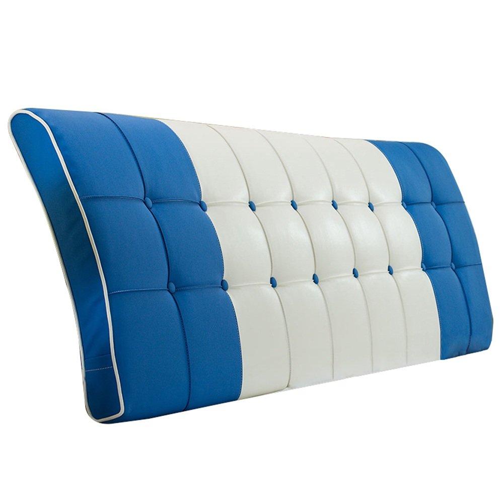 HAIPENG クッション ベッドの背もたれ ベッド バックレスト クッション なし ヘッドボード 大 ベッドサイド カバー 柔らかい 布張り 腰椎 パッド ソファー 快適、 7色、 マルチサイズ (色 : Blue, サイズ さいず : 200x63cm) B07F3YB9V6 200x63cm Blue Blue 200x63cm
