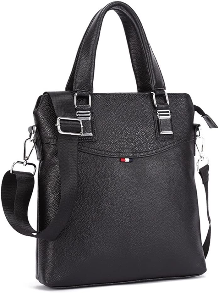 Color : Black 28x30x6cm Black//Brown Byrhgood Mens Shoulder Messenger Bag Tote Bag Leather Bow Stitch Solid Color Business Briefcase