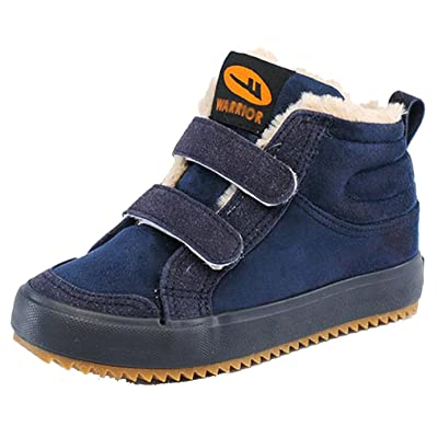 2015 NEW D.s.mor Little Kid Fur Lined Snow Boots Winter Boots (2 M, Navy)
