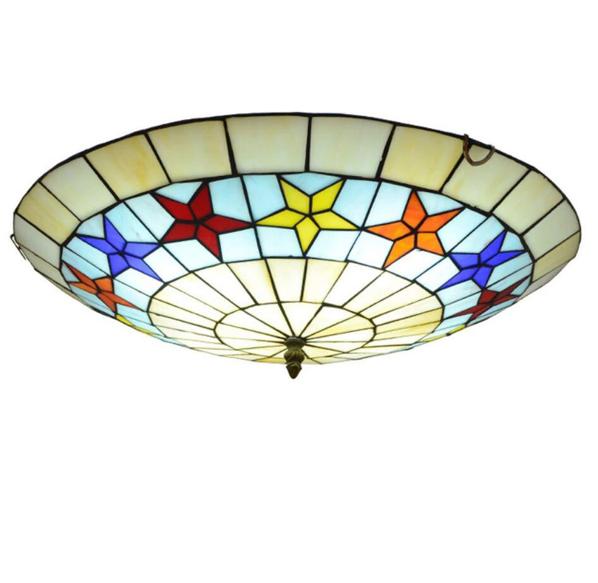 ティファニースタイルシーリングライト地中海ペンタグラムステンドグラス天井ランプ器具用ダイニングルーム子供部屋寝室,50cm 50cm  B07TB8J992