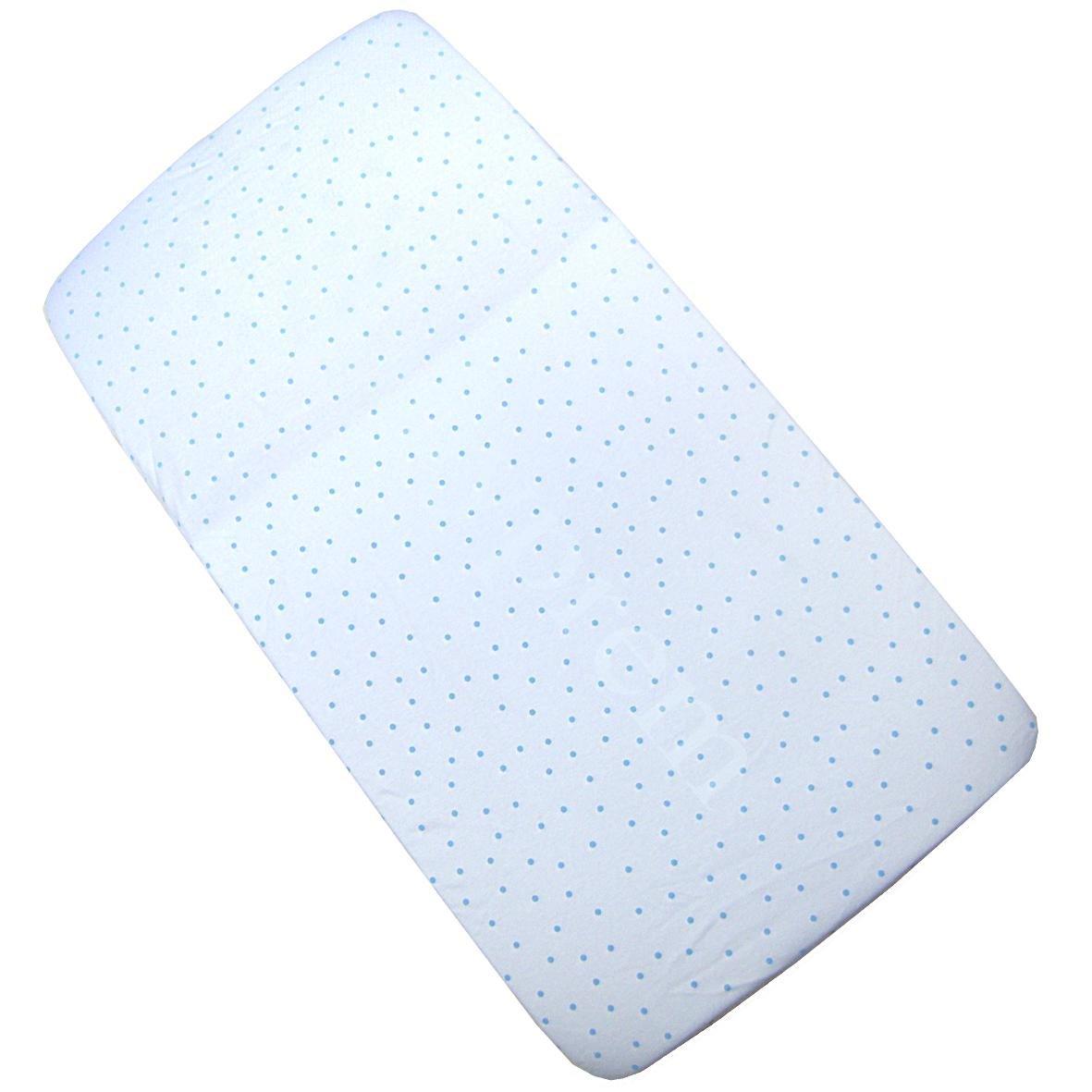 BabyPrem Baby Bedding Fitted Cotton Cradle Pram Sheet 35'' x 16'' BLUE SPOT
