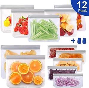 Reusable Storage Bags, Comken 12 Pack BPA FREE Freezer Bags(5 Reusable Sandwich Bags & 5 Reusable Snack Bag & 2 Large Size Bag), FDA Grade PEVA Ziplock Lunch Bag for Snacks, Fruits, Sandwiches