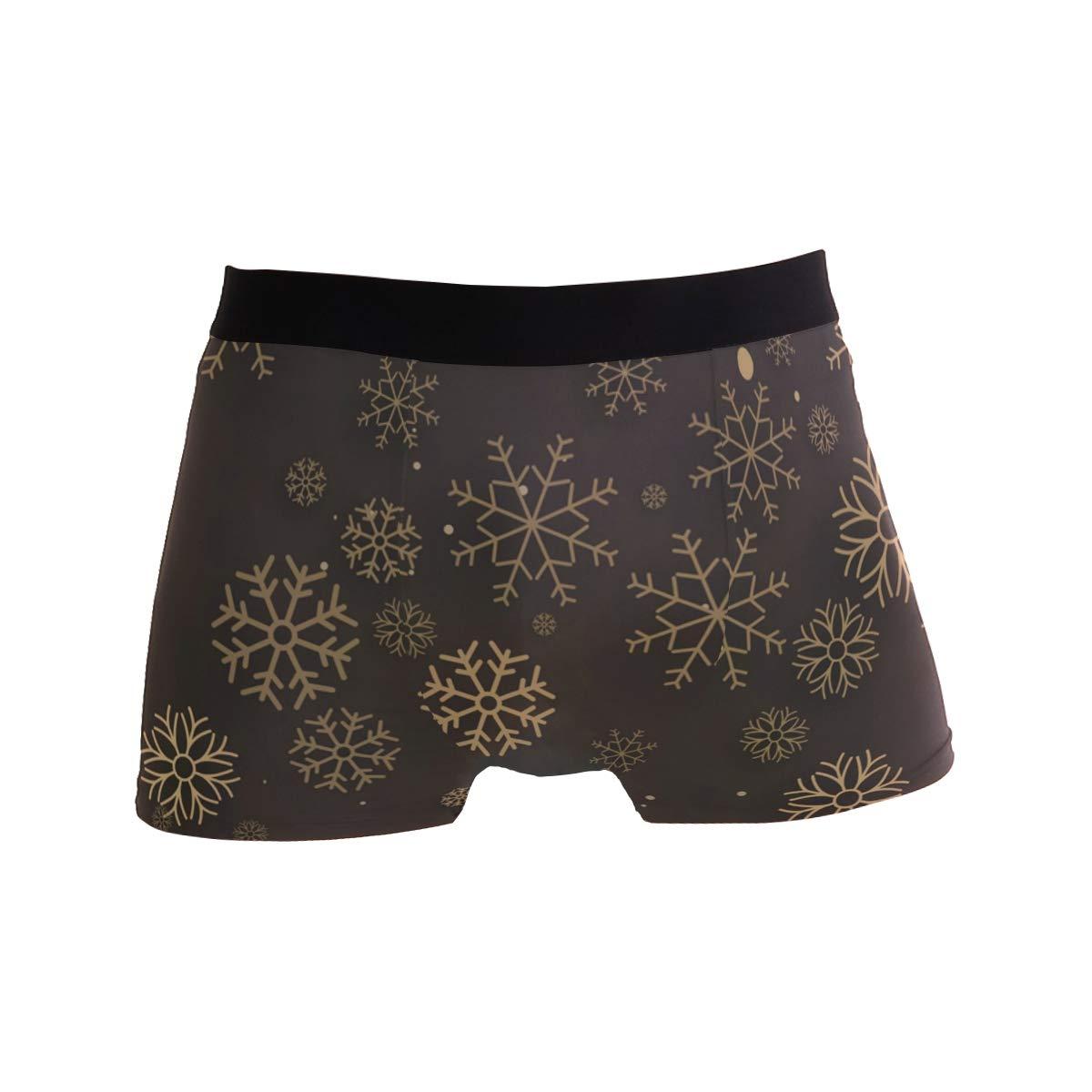 MAPOLO Christmas Golden Snowflake Underwear Mens Boxer Brief