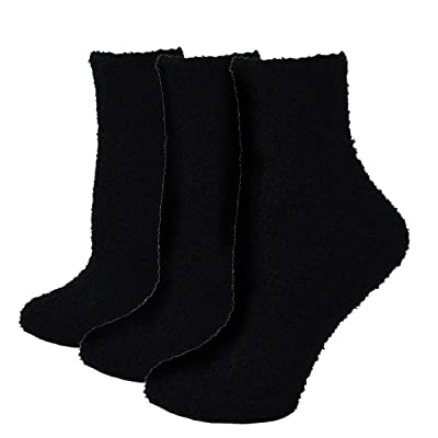 Fitu Women's Soft Warm Cozy Fuzzy Socks 3-pack Within Gift Box (BLACK) at Women's Clothing store