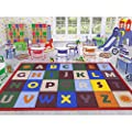 "Ottomanson Jenny Collection Red Frame with Multi Colors Kids Children's Educational Alphabet Design (Non-Slip) Area Rug, 8'2"" X 9'10"", Multicolor"