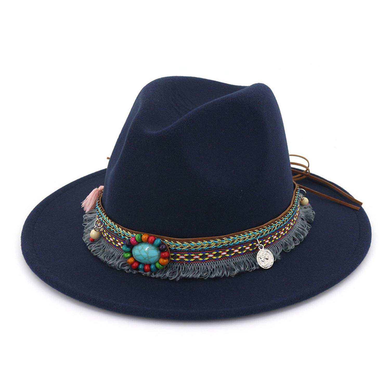 DOSOMI Fedora Women Vintage Felt Hat Casual Ethnic Style Large Brim Tweed Autumn Winter Jazz Cap