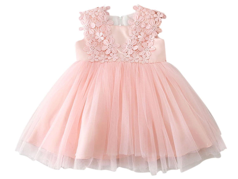 Happy Cherry Bebés Niñas Vestido Floral Tutú Traje de Fiesta Princesas Dress sin Mangas para Cumpleaños Boda Bautismo 0 - 24 Meses