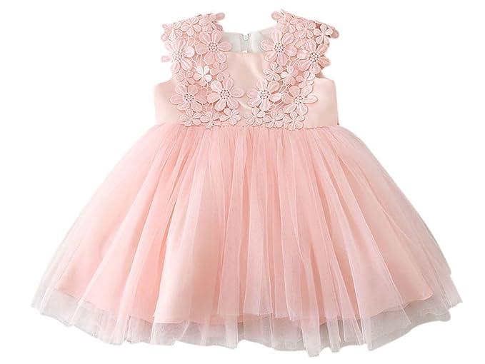 Happy Cherry Bebés Niñas Vestido Floral Tutú Traje de Fiesta Princesas Dress sin Mangas para Cumpleaños