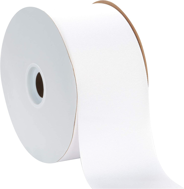 "Berwick Offray 3"" Grosgrain Ribbon, White, 50 Yards"
