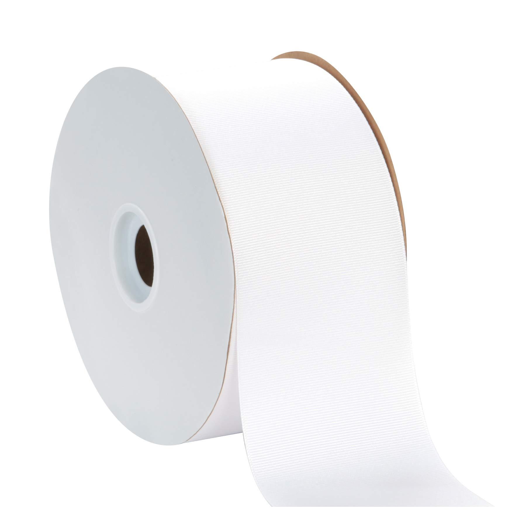 Berwick Offray 3'' Grosgrain Ribbon, White, 50 Yards by Berwick Offray