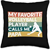 Cool Vintage Retro Volleyball Papa Apparel My Favorite Volleyball Player Calls Me Papa Father's Day Throw Pillow, 16x16, Mult