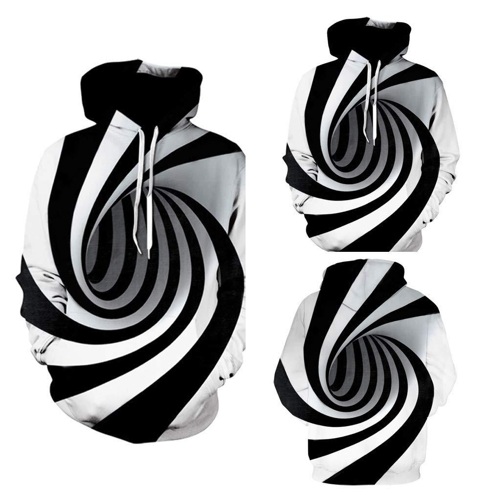 Hunputa Men's Blouse,Mens 3D Digital Vortex Printed Long Sleeve Hooded Sweatshirt Tops Blouse Hunputa Men's Blouse Hunputa-UH