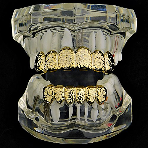 Nugget Grillz Set 14k Gold Plated Top & Bottom Teeth 12 PC Slugs Hip Hop Mouth Grills by Best Grillz (Image #1)