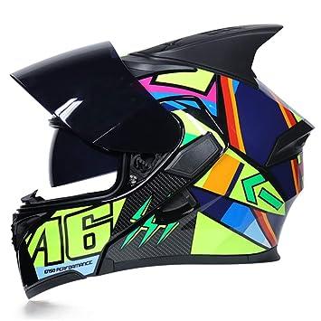Oztklife JIEKAI Flip Up Tiburón Fin Motocicleta Casco Modular Moto Casco con Visera Interior Parasol Seguridad Doble Lente Racing Cascos Full Face: ...