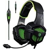 [2017 New Xbox one PS4 Gaming Headset ], SADES SA-807 Green Over-ear Bass Gaming Headsets Headphones For New Xbox one PS4 PC Laptop Mac Mobile (Black&Green)