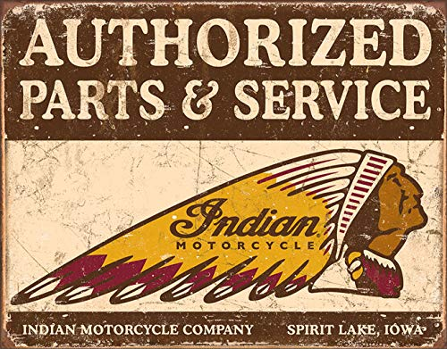 Desperate Enterprises Authorized Parts & Service - Indian Motorcycles Tin Sign, 16